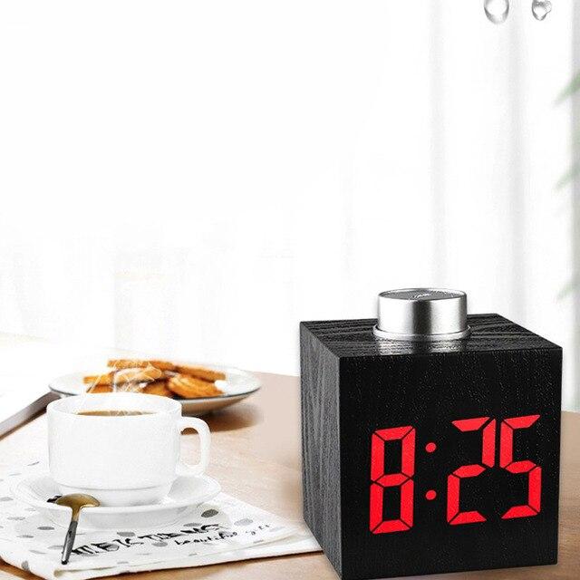 Digital Thermometer Alarm Clock Wooden LED Backlight Voice Control Retro Glow Watch Desktop Table Luminous Clock Home Decoration 6
