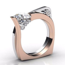 Luxury Clear Zircon Rings for Women Rose Gold& White Gold Color Wedding Bands Ladies Gifts Stetement Jewelry 2019 New