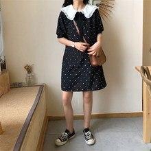 Fashion 2019 Summer Sailor Collar Short Sleeves Polka Dot Dress Women Sweet Bow Dress Knee Length Casual Dress mesh insert polka dot knee length bodycon dress