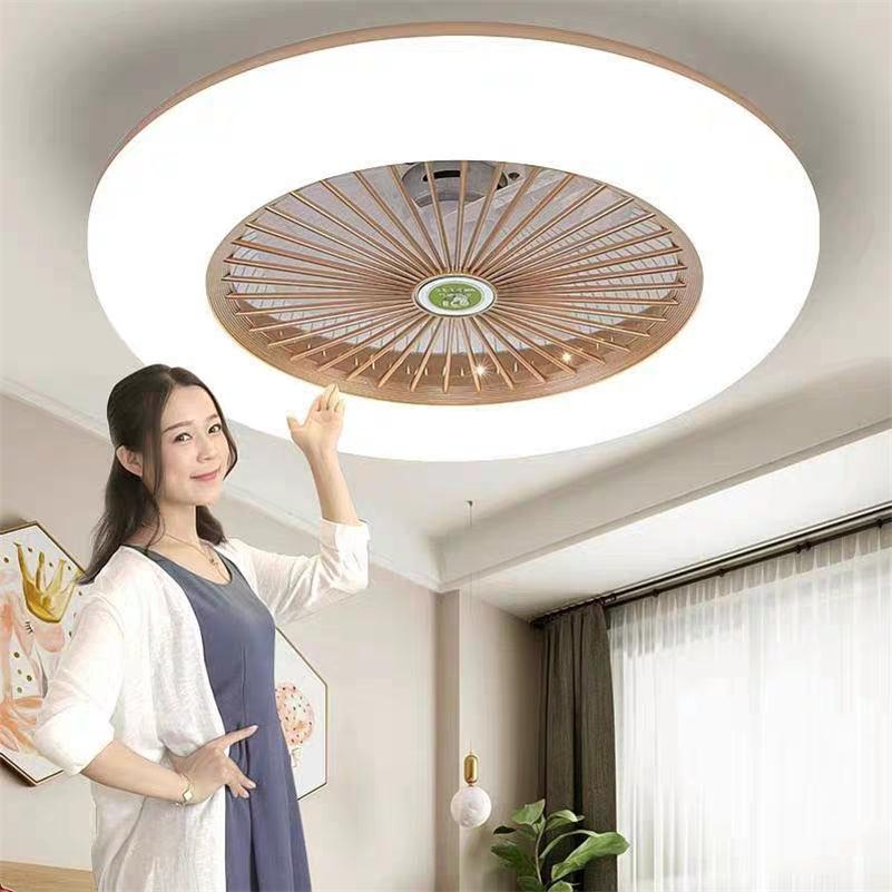 Ultra-thin Fan Ceiling Lights Dimming Remote Control Plafonnier LED Fans Invisible Leaves Lampara Techo Bedroom Ceiling Lamps