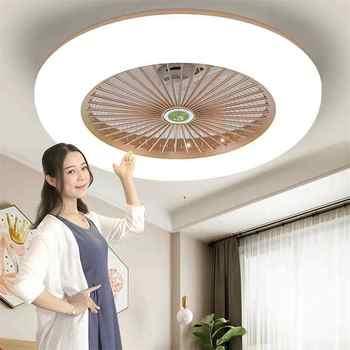 Ultradunne Fan Plafond Verlichting Dimmen Afstandsbediening Plafonnier Led Fans Onzichtbare Bladeren Lampara Techo Slaapkamer Plafond Lampen