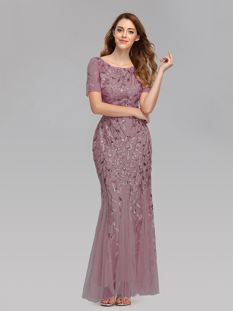 Plus Size Evening Dresses Mermaid O Neck Short Sleeve Lace Appliques Tulle Long Party Gown Robe Soiree Sexy Formal Dress vestido 4