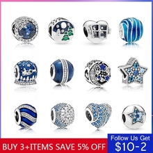Hot Sale Authentic 925 Sterling Silver 14 Style Blue Ocean Heart Beads Fit Original Pandora Bracelet DIY Jewelry Dropshipping