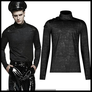 PUNK RAVE Men Punk Rock Military Style T-shirt Gothic Daily Long Sleeve Hight Neck Shirt