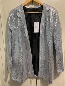 Image 5 - Outono feminino lantejoulas blazers jaqueta ouro bling prata preto manga longa elegante terno casaco noite clube glitter brilhante punk outwear
