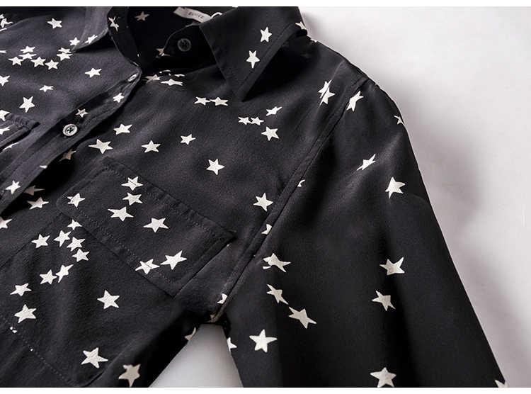 女性のシルクブラウス 100% リアルシルククレープスタープリント長袖ブラウスシャツ胸ポケット Blusas femininas 2019 秋冬シャツ