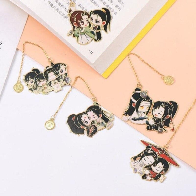 Marque page en forme de chaînette motif de la série animée Mo Dao Zu Shi, chaîne en métal pour marquer les pages, personnages Wei Wuxian Lan Wangji, Grand maître de la culture démoniaque,