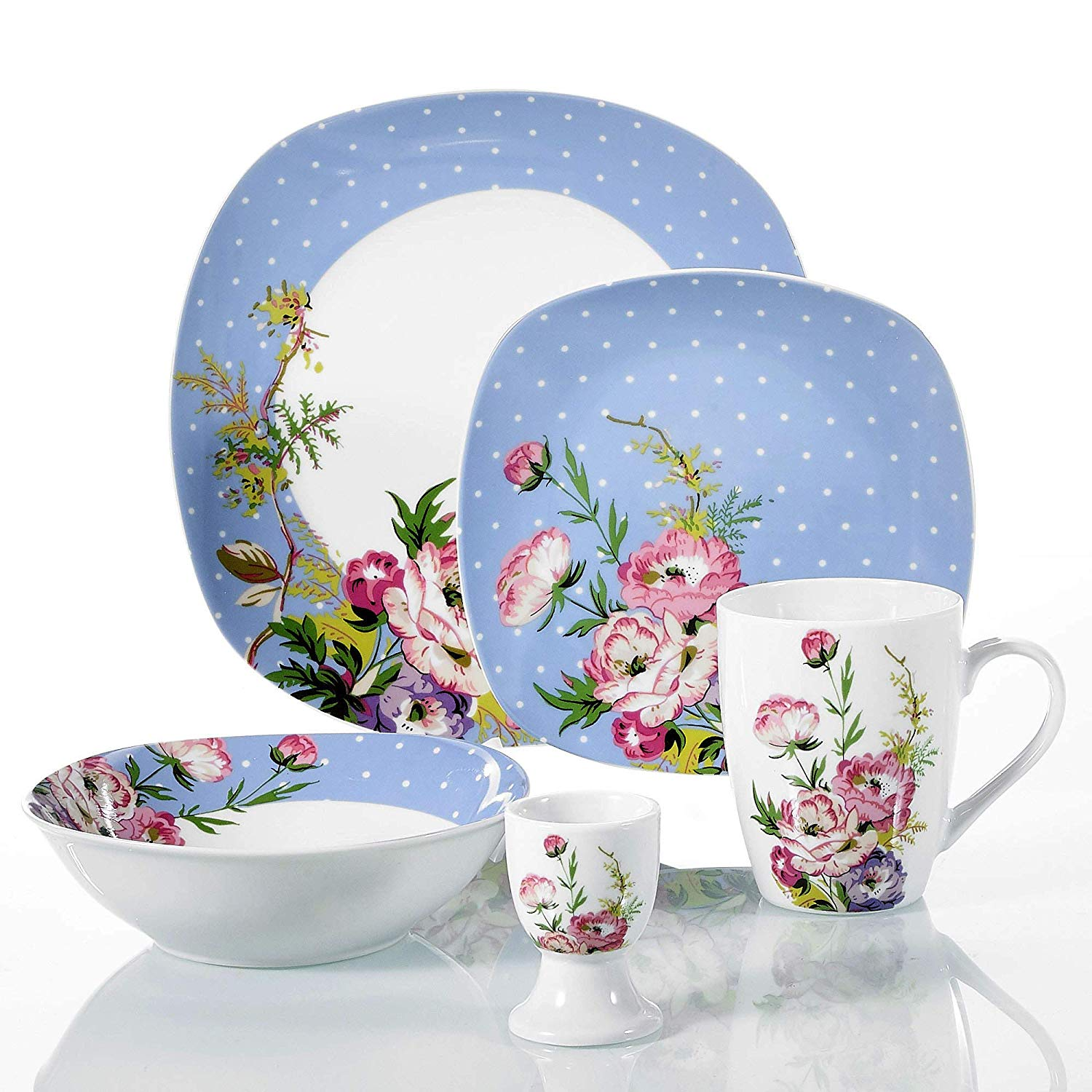 VEWEET Hannah 40-Piece Porcelain Dinner Set Blue White Dots Pink Flower Pattern Breakfast Combination Set Service for 8 Person with Egg Cup Mug Bowl Dessert Plate and Dinner Plate