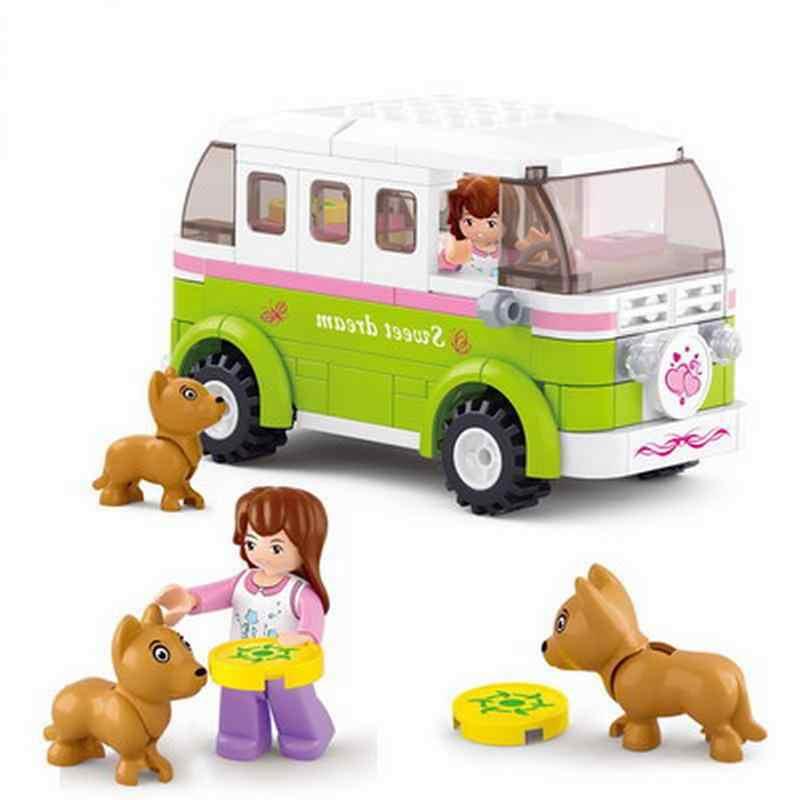 Gadis Snack Pengiriman Mobil Mobil Kompatibel dengan Blok Bangunan Blok Mainan Kit Diy Pendidikan Anak-anak Natal Hadiah