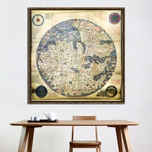60x60cm Fine Canvas Painting HD Office Bedroom Living Room Wall Decoration Map Vintage Decor Painting painting frameless for living room wall decor drawing bald eagle fly diy oil coloring pictures by numbers on linen canvas