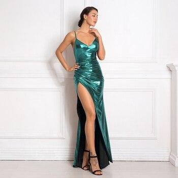 цены Sexy Deep V Neck Pleated Maxi Dress Sleeveless Split Leg Hollow Out Long Shiny Party Dress Bodycon Floor Length Burgundy Green