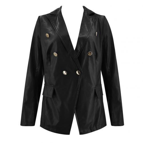 Women Autumn Solid Color Faux Leather Double-breasted Lapel Blazer Jacket Suit Solid Color Double-breasted Design Lapel Coat