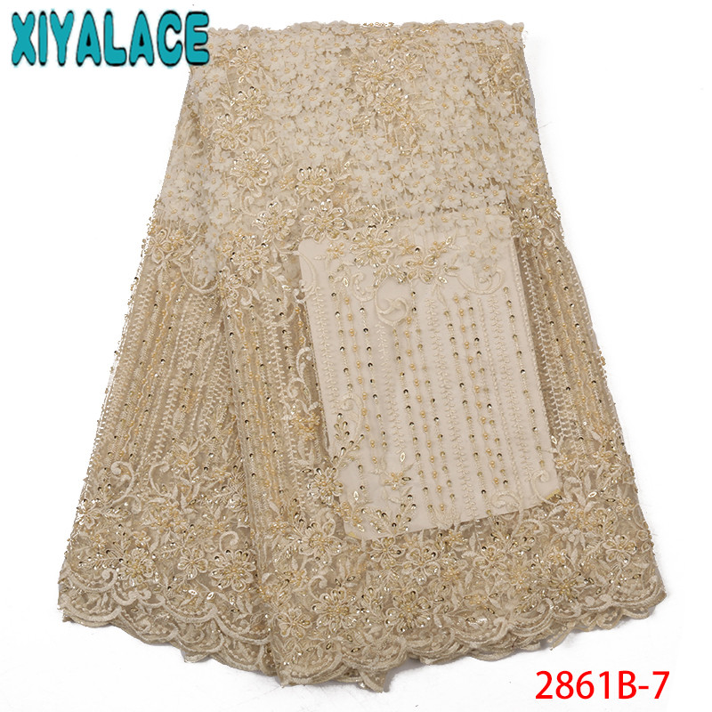 French Net Lace Fabric Latest 3D Flower Laces Handmade Beads Tulle Lace With Beads African Fabrics For Wedding KS2861B-7