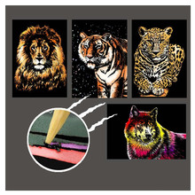 21*29cm 4PC DIY Scratch Paintings Card Landscape Animal Handmade Home Decor Picture Creative Gifts decompression Drawing Toys