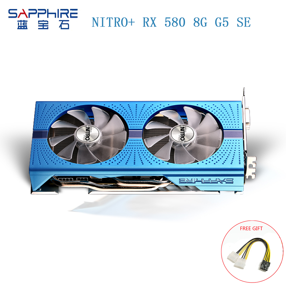 SAPPHIRE AMD NITRO+ <font><b>RX580</b></font> 8GB GDDR5 256bit Graphics Card <font><b>RX580</b></font> Gaming Video Card Desktop PC for Gaming Deaktop Used Cards image