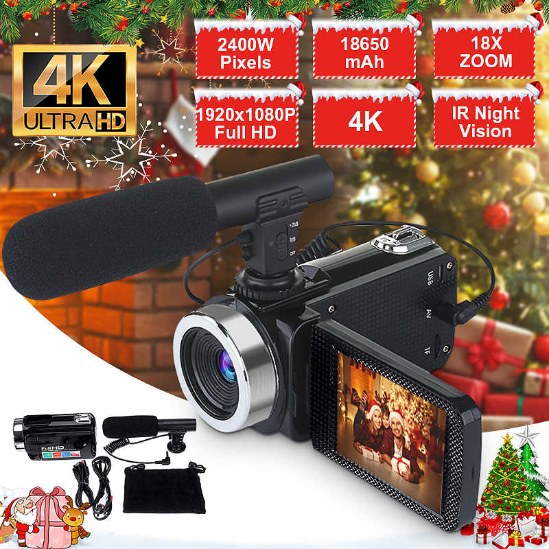4K Full HD Video Camera Camcorder 2400 MP IR Night Vision Video Camcorder 3 Inch 1080P HD LCD Screen 18X Zoom Camera With Mic
