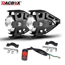 RACBOX Motorrad Scheinwerfer 6000K LED, Spot Licht Motorrad Nebel Lampe 1500LM Moto LED Roller ATV UTV Scheinwerfer 12V 24V