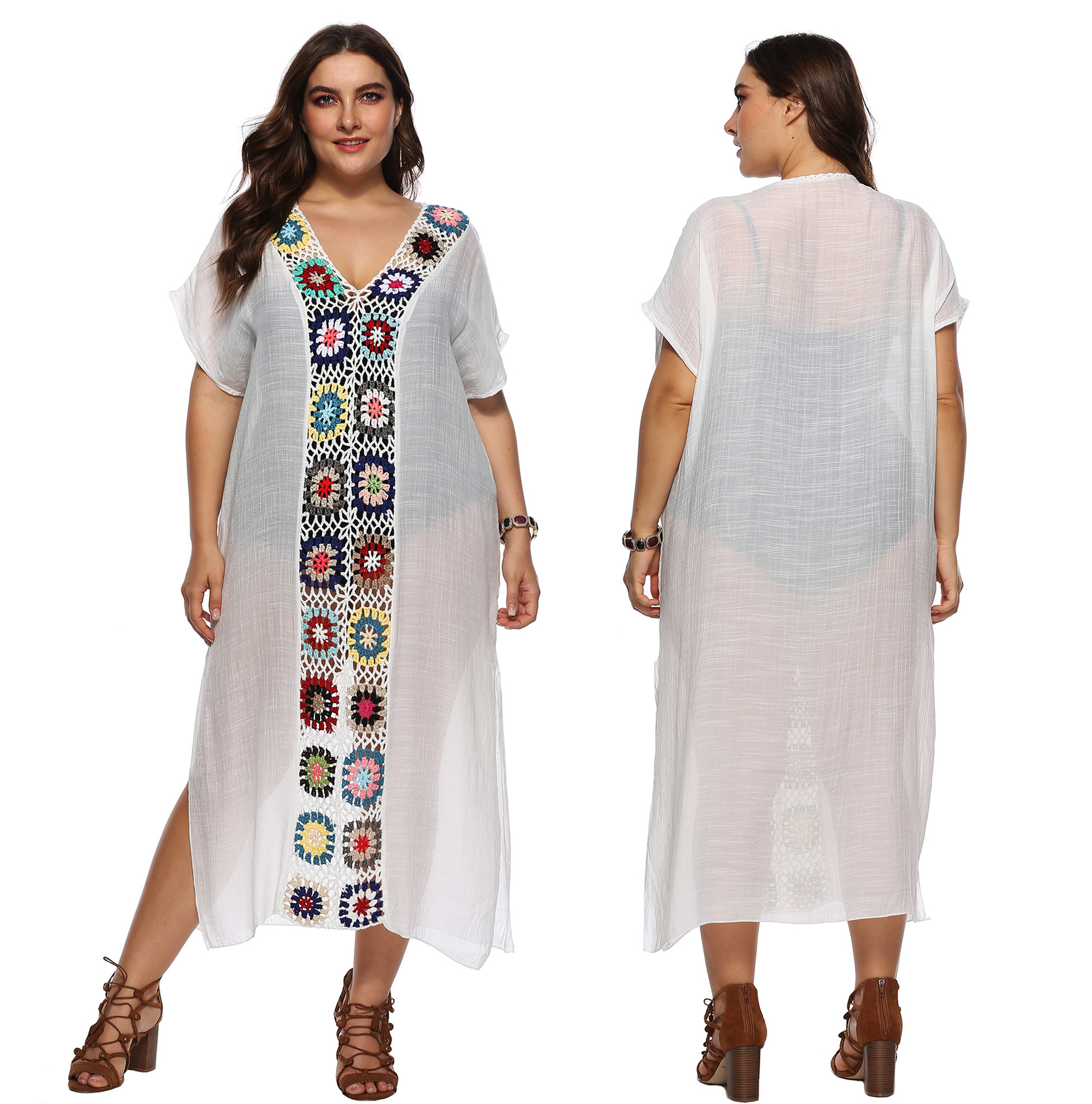 Amazon Large Size Dress Cross Border For Fat Cotton Cloth Crochet Joint Long Skirts Beach Overclothes Dress 1900