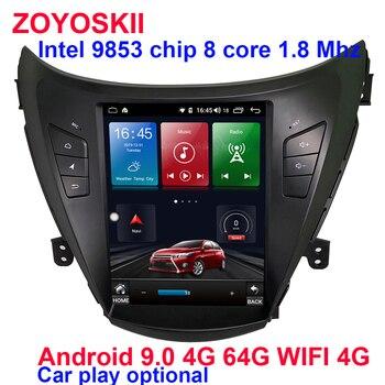 Android 9.0 10.4 inch vetical screen car gps multimedia radio bluetooth navigation player for Hyundai ELANTRA 2012-2015 carplay