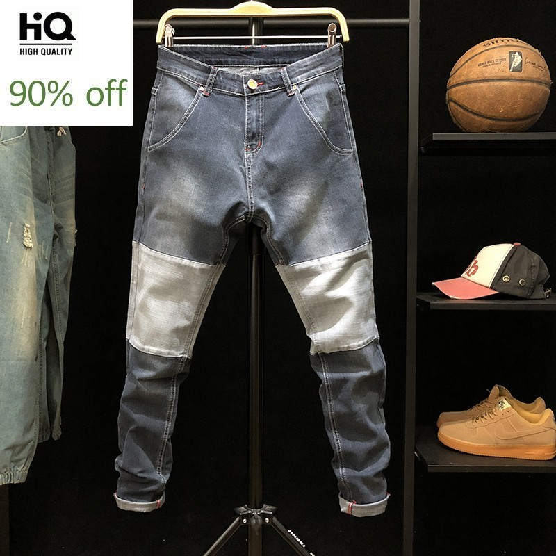 Spring Autumn Patchwork Jeans Men Plus Size 42 Slim Stretch Straight Leg Long Pants Casual Student Biker Denim Trousers Blue