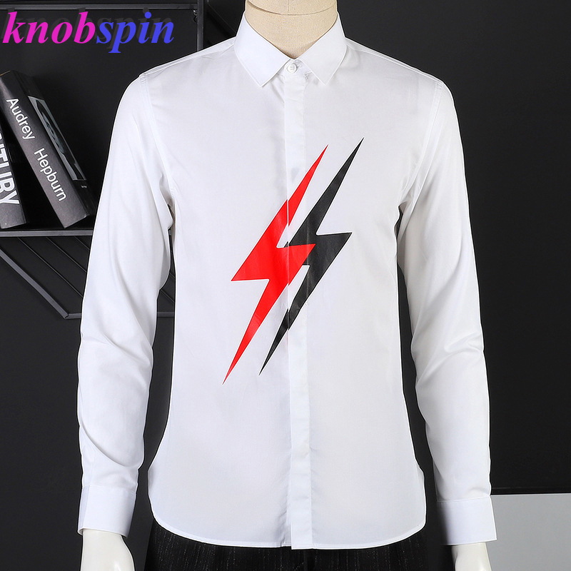 New Men's Shirt Black White Big Lightning Print Long Sleeve Chemise Homme Fashion Slim Casual Pure Cotton Shirts Men 2XL 3XL 4XL