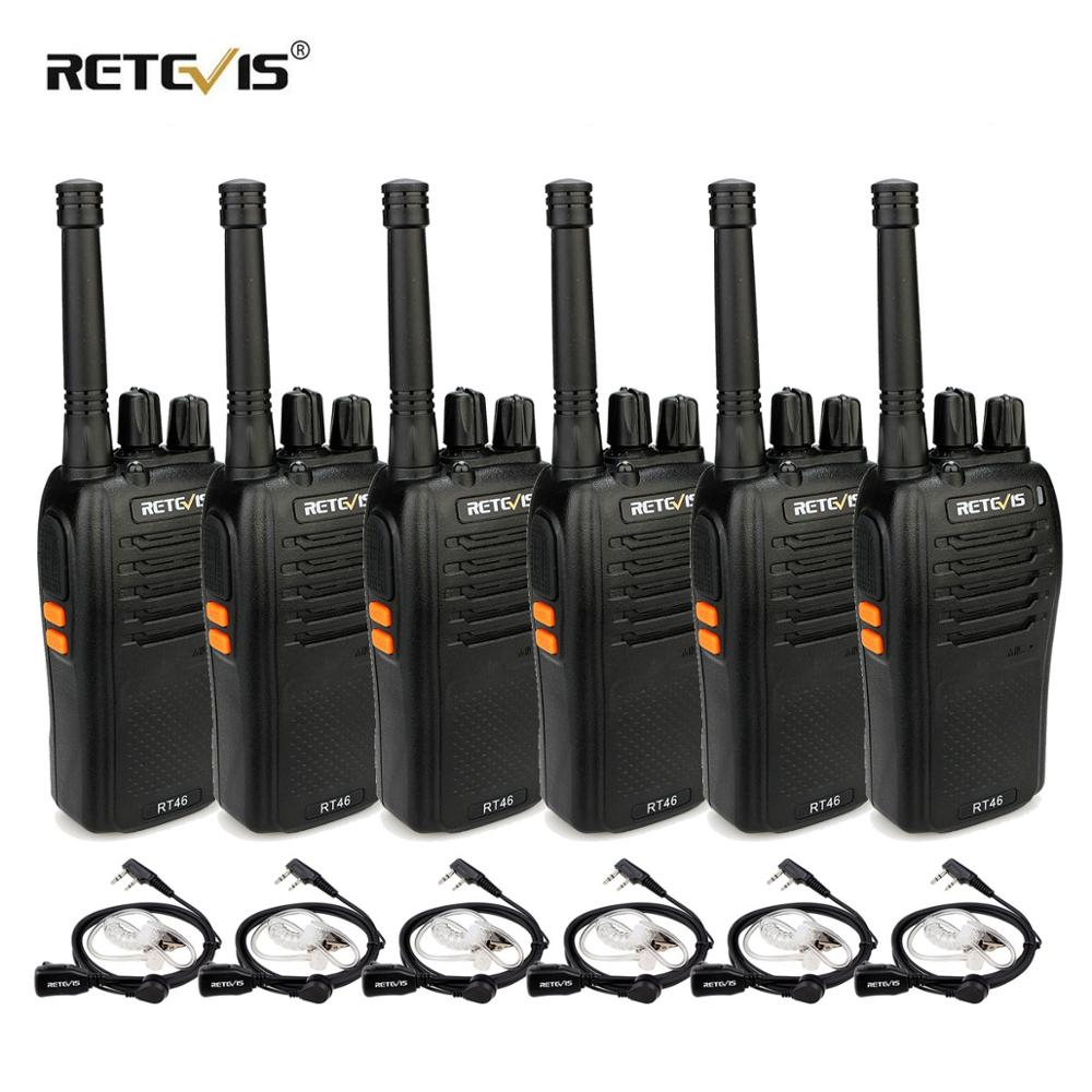 RETEVIS RT46 Walkie Talkie 6pcs PMR Radio PMR446/FRS Portable Two Way Radio VOX Micro-USB Charging  Li-ion (or AA) Battery Radio