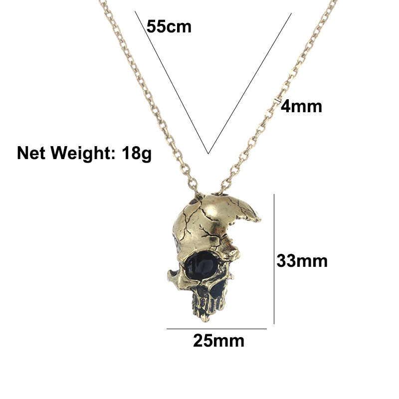 Vintage الرجال فاسق نصف الجمجمة الوجه قلادة قلادة معدنية القوطية مجوهرات الرعب الهيكل العظمي السائق روك سلسلة القلائد العتيقة الفضة