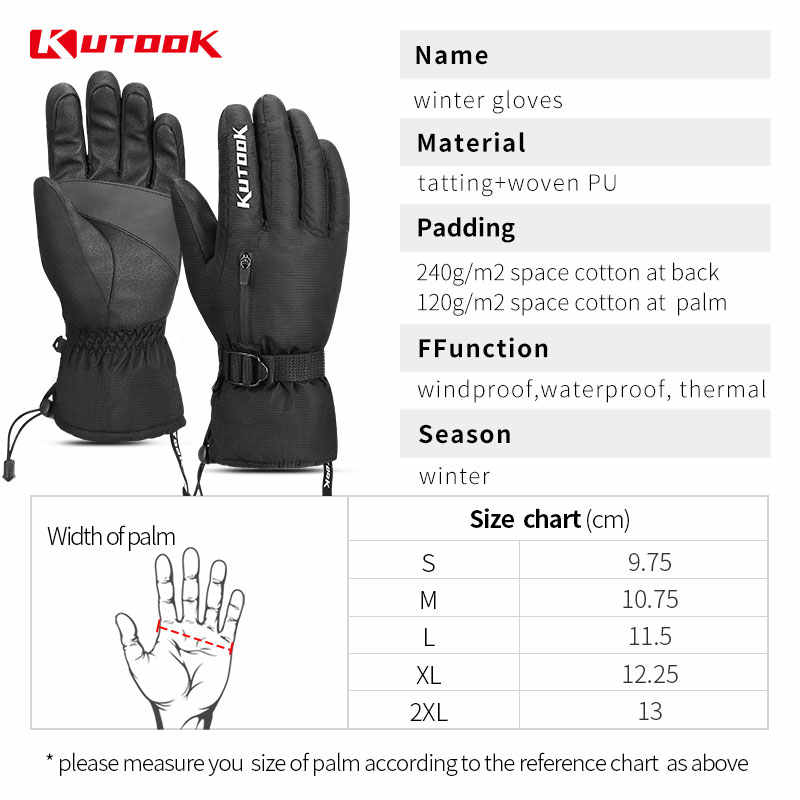 KUTOOK Windproof /& Waterproof Ski Gloves Snow Mittens with Thermal 3M Thinsulate