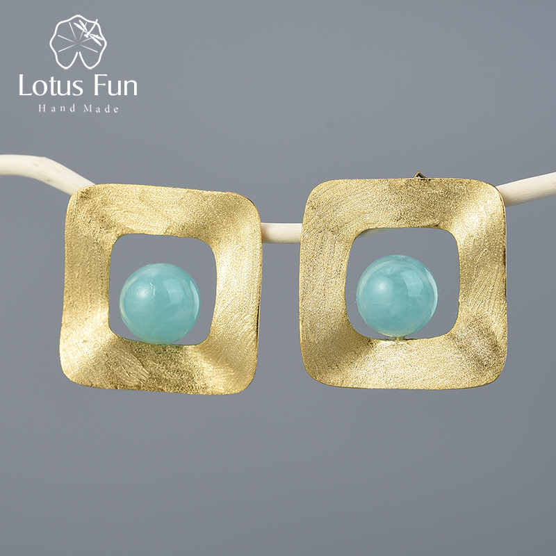 Lotus Fun Natural Stone Minimalist Style Uneven Square Stud Earrings Real 925 Sterling Silver 18K Gold Handmade Fine Jewelry