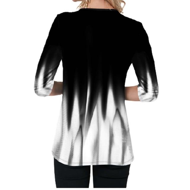 Blusa holgada de talla grande para Primavera, camisa holgada con gradiente de impresión 3D y cuello de pico cruzado para mujer, 2021 2