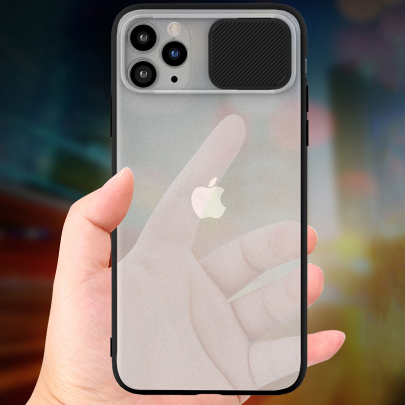 Slide Camera Lens for iphone 11 pro max xs x xr Frosted transparent Silicone soft tpu for iphone 7plus 8plus 6 6splus PC cover image