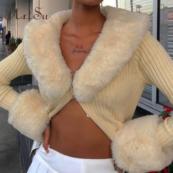 Artsu Ribbed Knitted Cardigans Sweaters With Fur Trim Collar Long Sleeve Slim Autumn Winter Jumpers Women Knitwear 42015 1
