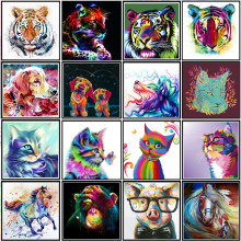 5D color animal cat/tiger/dog diamond embroidery cross stitch DIY horse diamond painting mosaic rhinestone home decoration gift