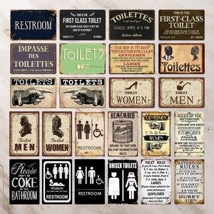 Toilet Metal Sign Plaque Vintage Bathroom Tin Sign Plate Wall Decor For Toilet Bathroom Restroom Retro Iron Painting 20x30cm