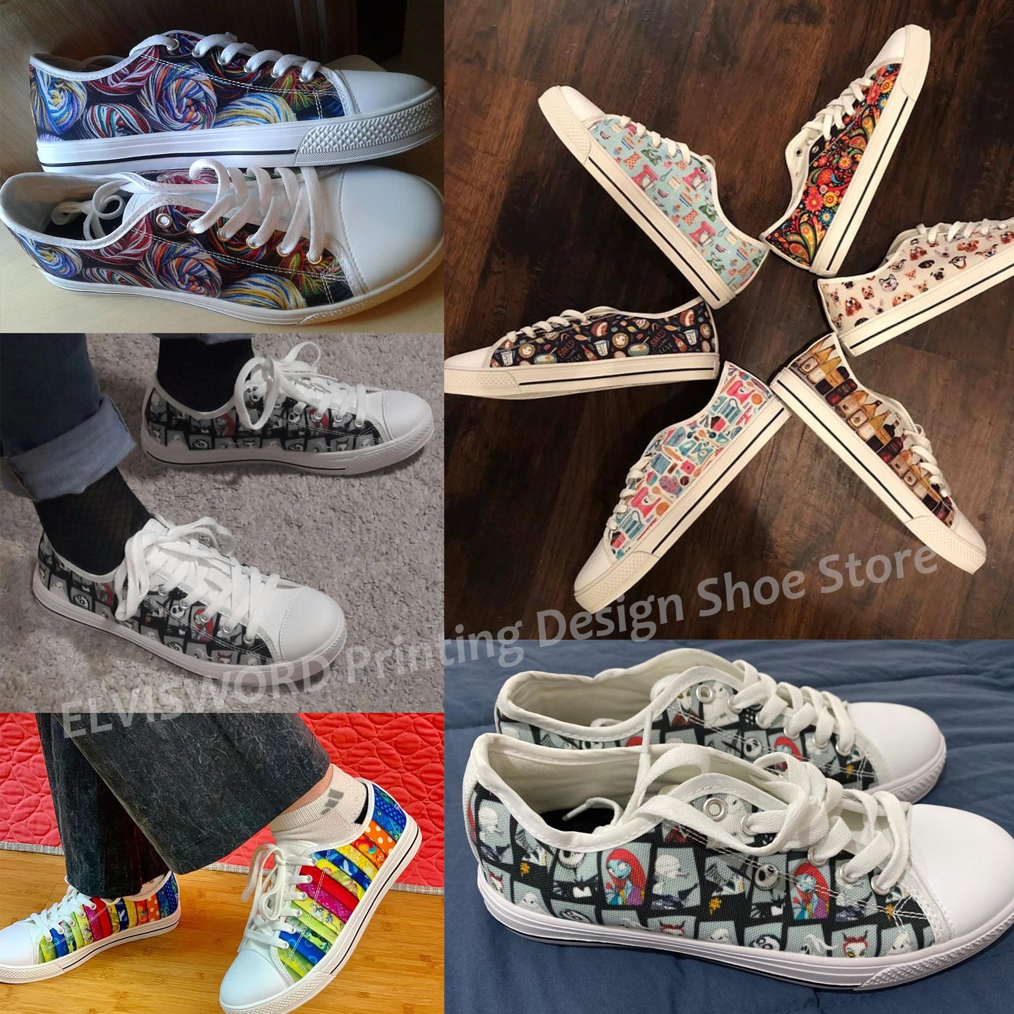 Купить с кэшбэком ELVISWORDS Women Classic Vulcanize Shoes Beautiful Sunflower/Corgi/Afro Girls Printed Low Canvas Sneakers Female Lace-up Flats