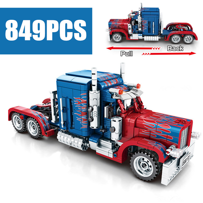 New 849PCS Technic Heavy Container Trucks Fit Legoings Technic Truck Model Building Blocks Classic Kid Gift Toys ChildrenModel Building