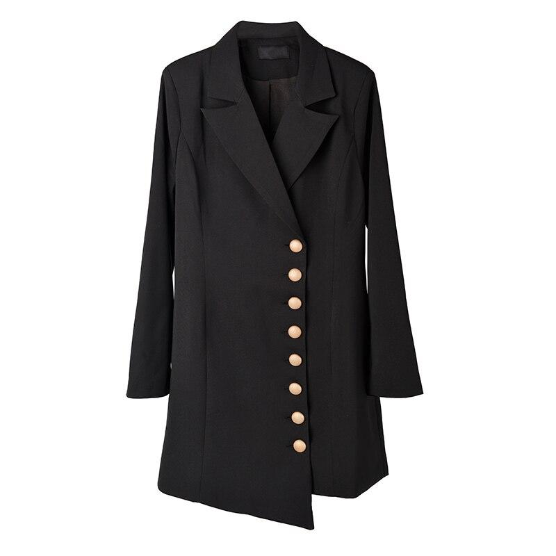 SHENGPALAE 2020 New Fashion Spring Winter Blazer Women Loose Casual Tide Single Breasted Suit Collar Solid Blazer Feminino A843