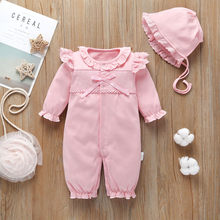 Baby Winter Cotton Costume Infant Baby Girls Long Sleeve Solid Lace Ruffles Romper Jumpsuit+Hat Outfits Roupas Kids Clothing(China)