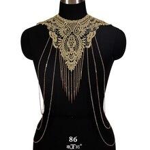 Бохо Золотая цепь для тела кружева сплайсинга кисточкой ювелирные изделия для женщин бюстгальтер Металл выдалбливают регулируемое ожерелье ювелирные изделия бикини пляж спинки жгут