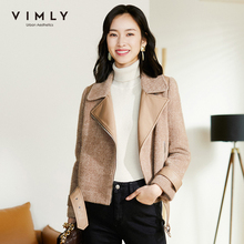 Short Jacket Outwear Vimly Women's Cashmere-Coats Retro-Patchwork Zipper Lapel F3311