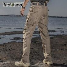 TACVASEN Tactical Pants Men Cotton Straight Multi pocket Work Cargo Pants Long Military Solider Combat Trousers Casual Pants Men