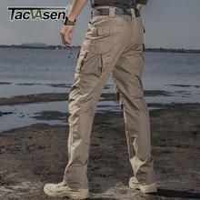 Tacvasen戦術的なパンツの男性の綿ストレートマルチポケットワークエプロンカーゴパ軍兵士戦闘ズボンカジュアルパンツ男性