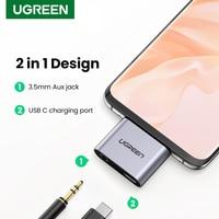 Ugreen-Adaptador tipo USB C a USB C con adaptador de conector de 3,5mm, convertidor de auriculares auxiliar de Audio de aluminio para Huawei P20 Pro