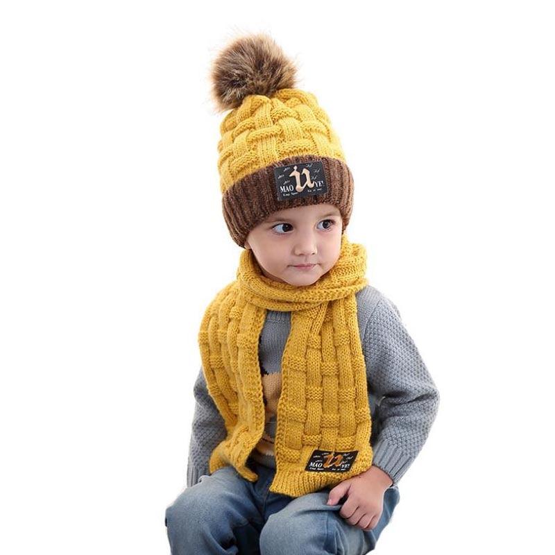 Doitbest 4 To 10 Years Old Kids Beanie Sets Fur Inside Velvet 2 Pcs Boys Girls Winter Knitted Hat Scarf Set