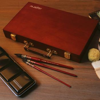 Malarstwo akwarela z litego drewna szkic box dostaw sztuki wielofunkcyjne pudełko sztuki student odkryty przenośny zestaw do szkicowania box tanie i dobre opinie 00100