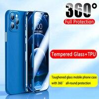 Vorderseite Gehärtetes Glas + Zurück Weiche TPU Matte Abdeckung Für IPhone 12 Pro Max 12 Mini 11 Pro Xs Max X XR 360 Volle Schutz Telefon Fall