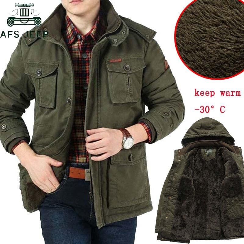AFS JEEP Brand Thick Winter   Parkas   men Plus Size 7XL 8XL Military Winter Jacket Men Outwear Fleece Cotton   Parkas   Outdoors Coats