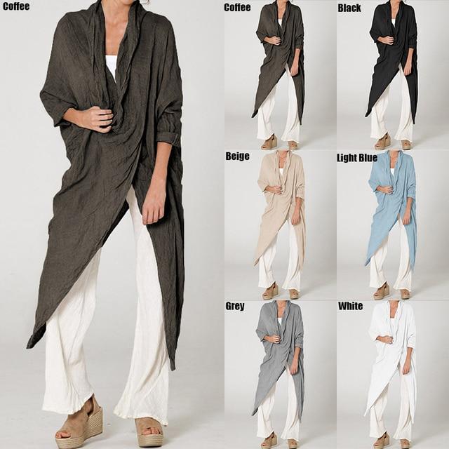 2019 Celmia Plus Size Women Tops and Blouses Vintage Long Shirt Casual Cowl Neck Long Sleeve Loose Asymmetrical Blusas Femininas 2