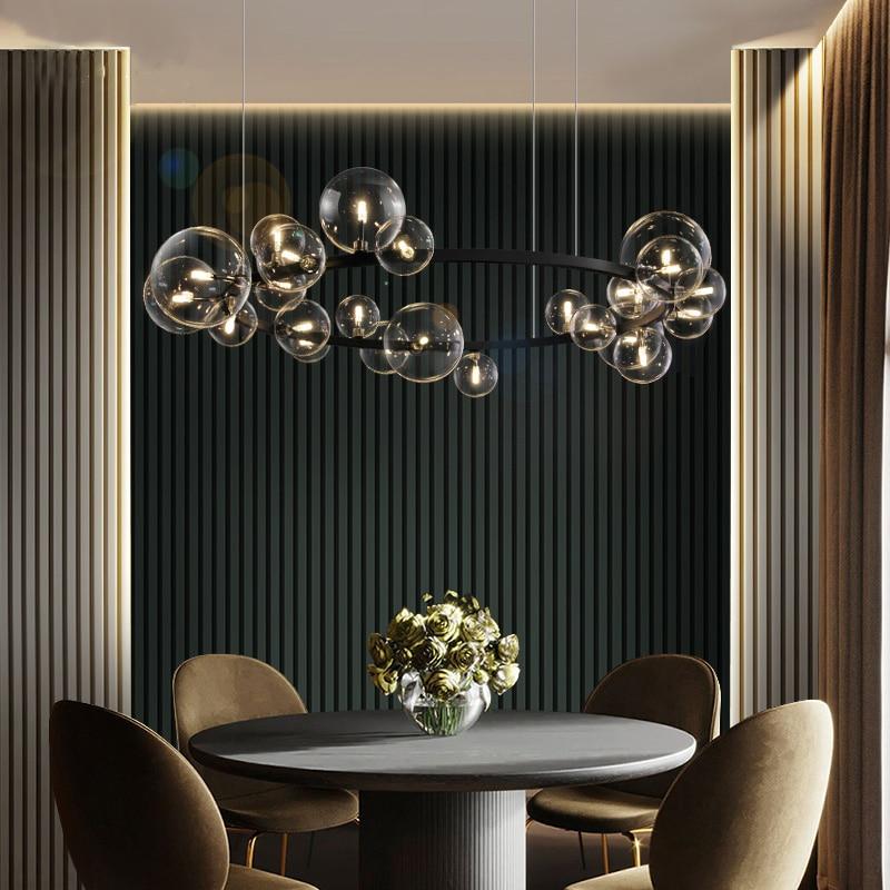 Современный светодиодный стеклянный шар, Черная Круглая Люстра для ресторана, спальни, освещение для Северной гостиной, столовой, Подвесная лампа