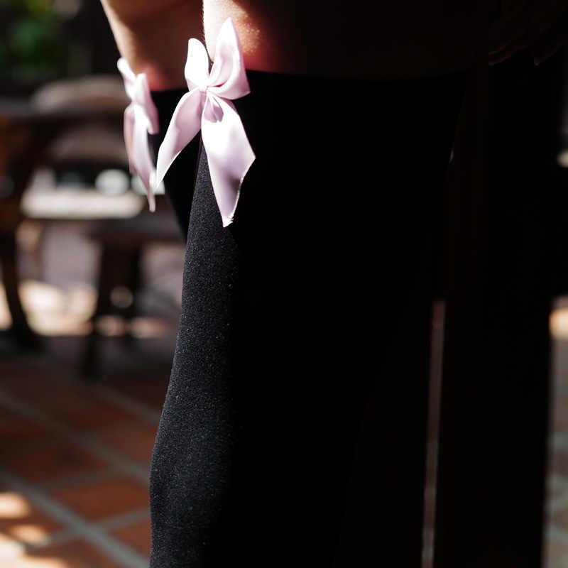 סקסי נשים של גרביים ורוד קשת להישאר עד ירך גבוהה משי גרבי צינור. גבירותיי מתוק קשת גרבי Pantyhose.2 צבעים